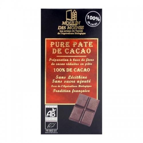 chocolate 100 cacao moulins des moines 100 gr bio
