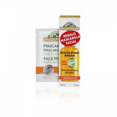 aceite argan puro 100 mascarilla facial corpore sano 30 ml