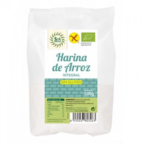 harina arroz integral sin gluten sol natural 500 gr bio