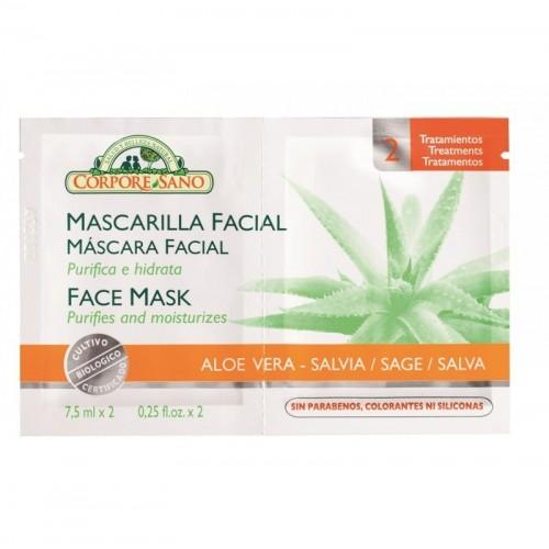 mascarilla facial aloe vera 24 ud corpore sano sobres 15 ml